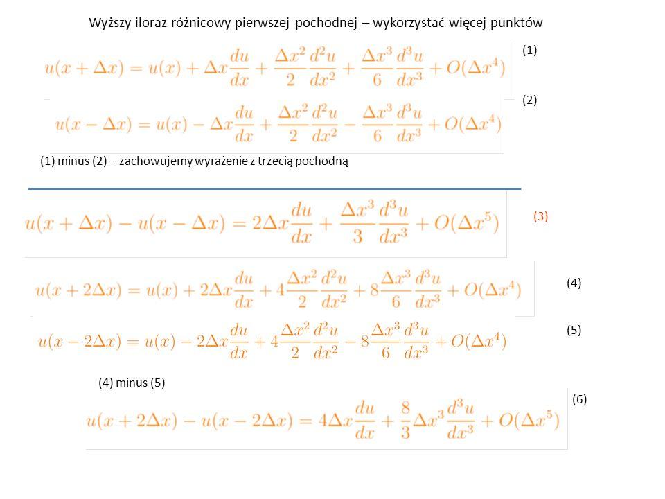 (1) (2) (1) minus (2) – zachowujemy wyrażenie z trzecią pochodną (4) (5) (3) (4) minus (5) (6) Wyższy iloraz różnicowy pierwszej pochodnej – wykorzystać więcej punktów