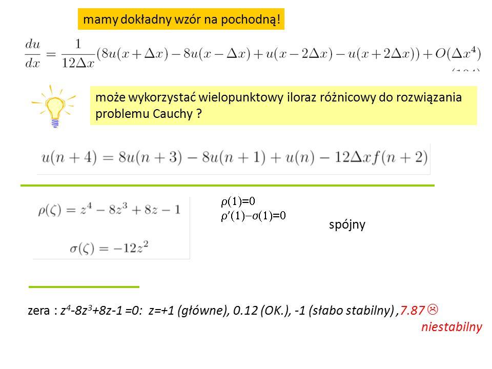może wykorzystać wielopunktowy iloraz różnicowy do rozwiązania problemu Cauchy ? spójny zera : z 4 -8z 3 +8z-1 =0: z=+1 (główne), 0.12 (OK.), -1 (słab