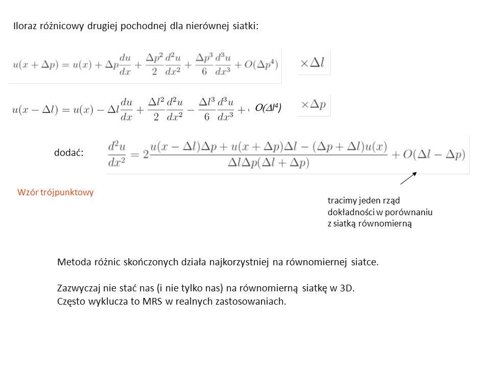 tracimy jeden rząd dokładności w porównaniu z siatką równomierną Wzór trójpunktowy Iloraz różnicowy drugiej pochodnej dla nierównej siatki:  l 4 ) dodać: Metoda różnic skończonych działa najkorzystniej na równomiernej siatce.