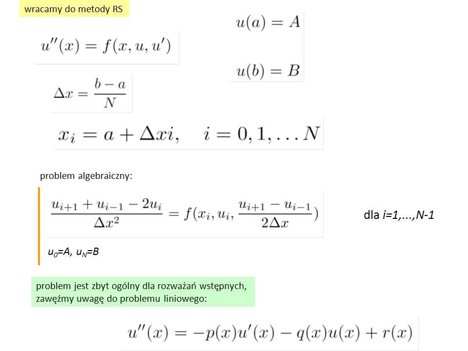 wracamy do metody RS problem algebraiczny: dla i=1,...,N-1 u 0 =A, u N =B problem jest zbyt ogólny dla rozważań wstępnych, zawęźmy uwagę do problemu l