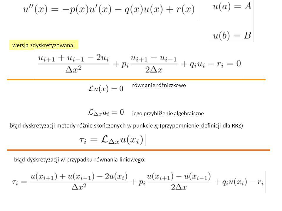 wersja zdyskretyzowana: błąd dyskretyzacji metody różnic skończonych w punkcie x i (przypomnienie definicji dla RRZ) równanie różniczkowe jego przybliżenie algebraiczne błąd dyskretyzacji w przypadku równania liniowego: