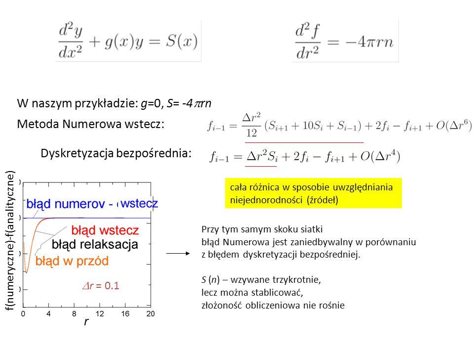 r metoda Numerowa w całkowaniu do przodu z analitycznym f 1 Przypominam wynik przy podejściu poprzednim: Błąd jest podobnego pochodzenia (numeryczne<>analityczne) i podobnego charakteru (liniowy z r) ale znacznie mniejszy (błąd popełniony przez Numerowa w obszarze gdzie n nie znika – znacznie mniejszy) r r f(numeryczne)-f(analityczne)