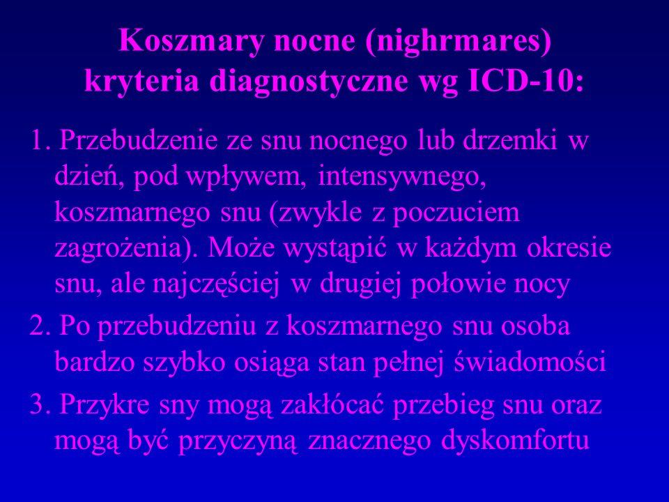 Koszmary nocne (nighrmares) kryteria diagnostyczne wg ICD-10: 1.