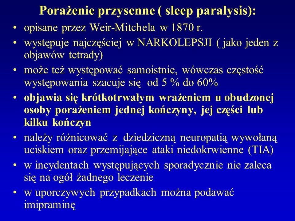 Porażenie przysenne ( sleep paralysis): opisane przez Weir-Mitchela w 1870 r. występuje najczęściej w NARKOLEPSJI ( jako jeden z objawów tetrady) może