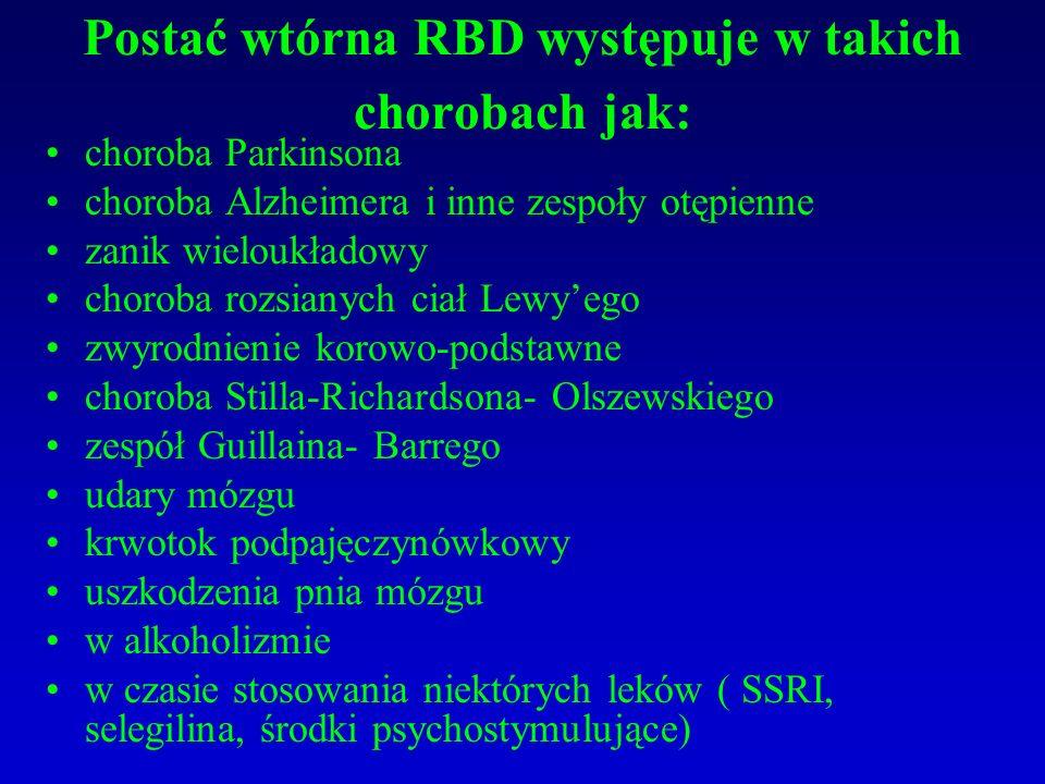 Postać wtórna RBD występuje w takich chorobach jak: choroba Parkinsona choroba Alzheimera i inne zespoły otępienne zanik wieloukładowy choroba rozsian
