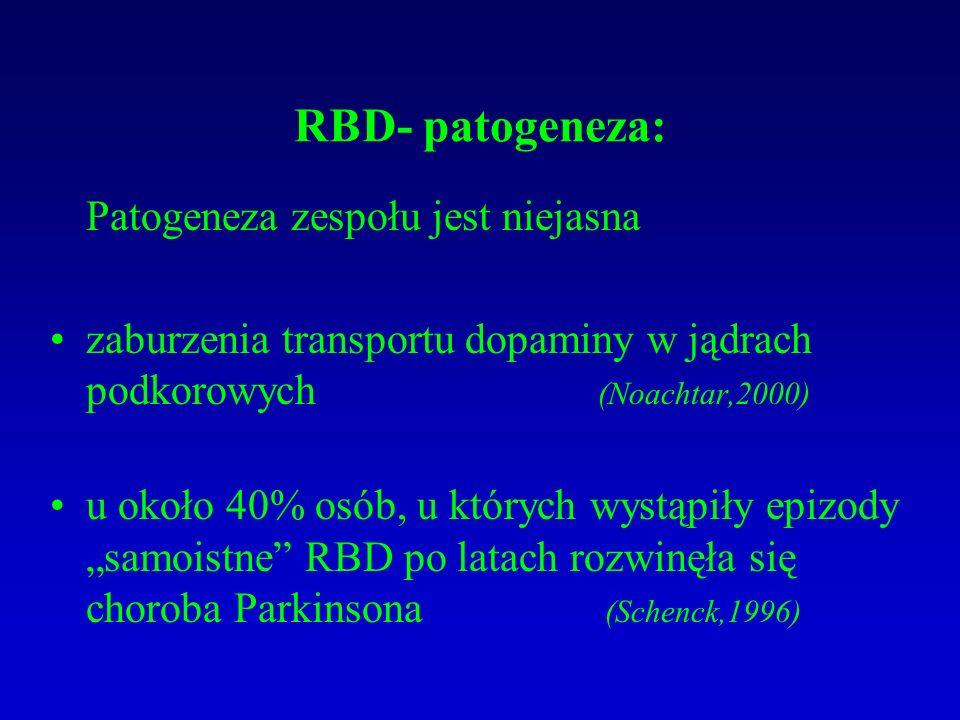 """RBD- patogeneza: Patogeneza zespołu jest niejasna zaburzenia transportu dopaminy w jądrach podkorowych (Noachtar,2000) u około 40% osób, u których wystąpiły epizody """"samoistne RBD po latach rozwinęła się choroba Parkinsona (Schenck,1996)"""