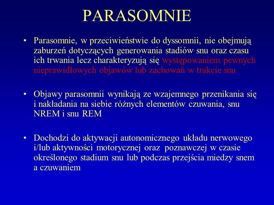 PARASOMNIE Parasomnie, w przeciwieństwie do dyssomnii, nie obejmują zaburzeń dotyczących generowania stadiów snu oraz czasu ich trwania lecz charakteryzują się występowaniem pewnych nieprawidłowych objawów lub zachowań w trakcie snu Objawy parasomnii wynikają ze wzajemnego przenikania się i nakładania na siebie różnych elementów czuwania, snu NREM i snu REM Dochodzi do aktywacji autonomicznego układu nerwowego i/lub aktywności motorycznej oraz poznawczej w czasie określonego stadium snu lub podczas przejścia miedzy snem a czuwaniem Zaburzenia charakteryzujące się pojawieniem pewnych zachowań, związanych z aktywacją fizjologicznych mechanizmów, w niewłaściwym czasie- podczas określonego stadium snu lub przejścia miedzy snem, a czuwaniem Parasomnie ( w przeciwieństwie do dyssomnii) nie obejmują zaburzeń dotyczących generowania rytmu snu i czuwania i ich czasu trwania.