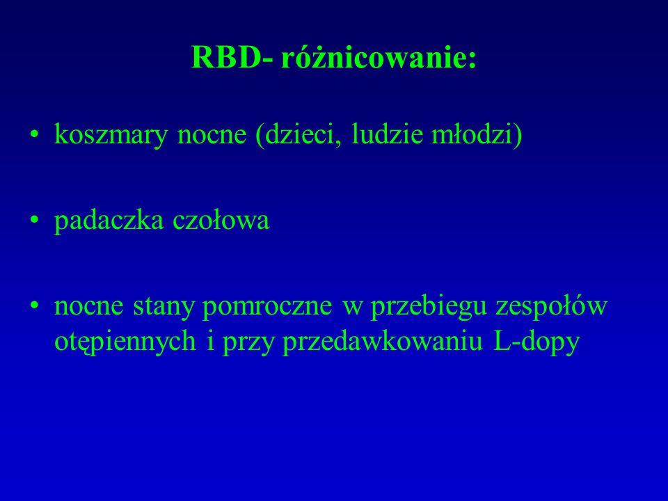 RBD- różnicowanie: koszmary nocne (dzieci, ludzie młodzi) padaczka czołowa nocne stany pomroczne w przebiegu zespołów otępiennych i przy przedawkowaniu L-dopy