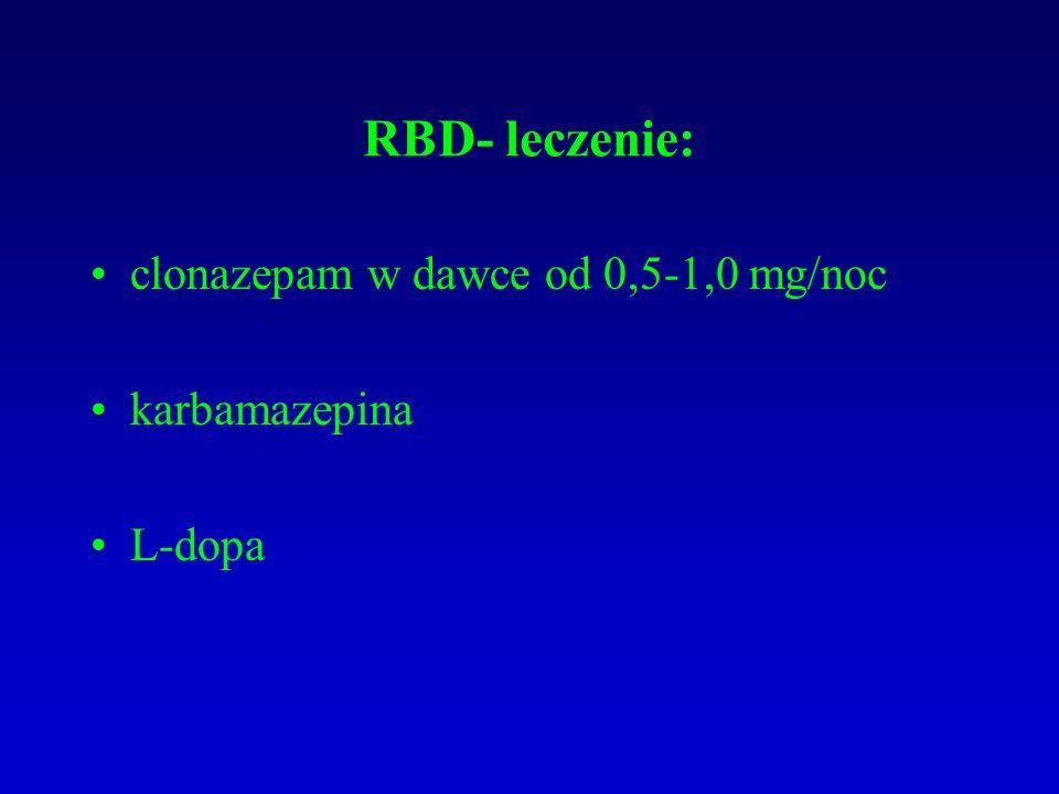 RBD- leczenie: clonazepam w dawce od 0,5-1,0 mg/noc karbamazepina L-dopa