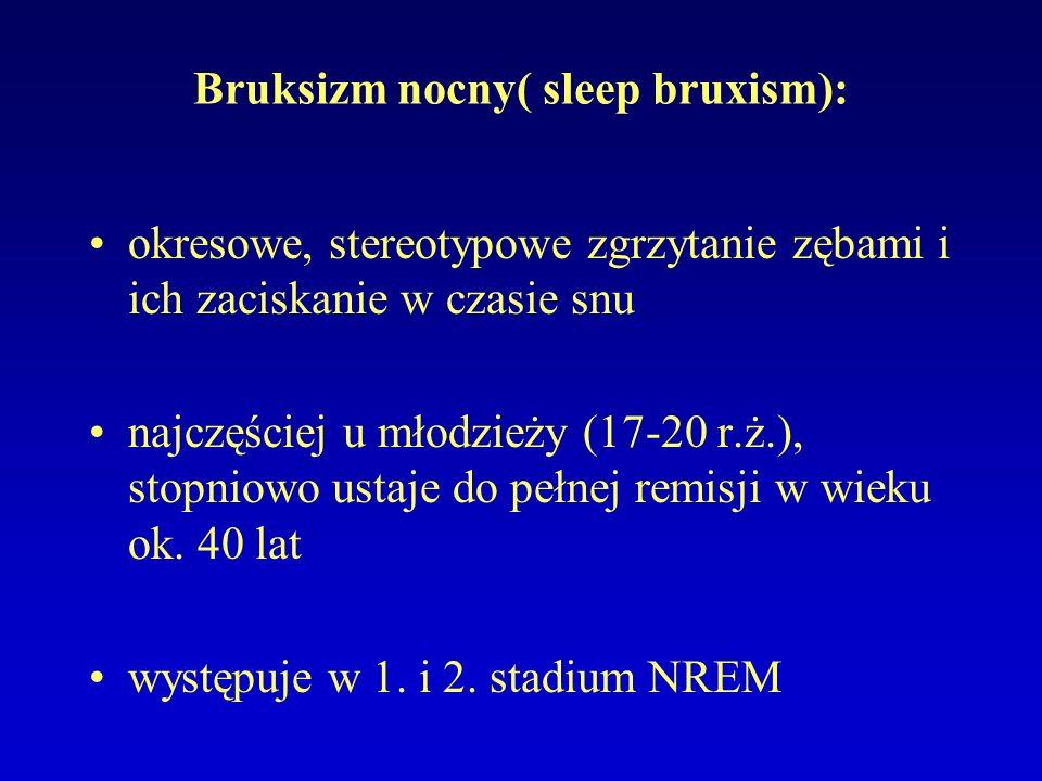Bruksizm nocny( sleep bruxism): okresowe, stereotypowe zgrzytanie zębami i ich zaciskanie w czasie snu najczęściej u młodzieży (17-20 r.ż.), stopniowo