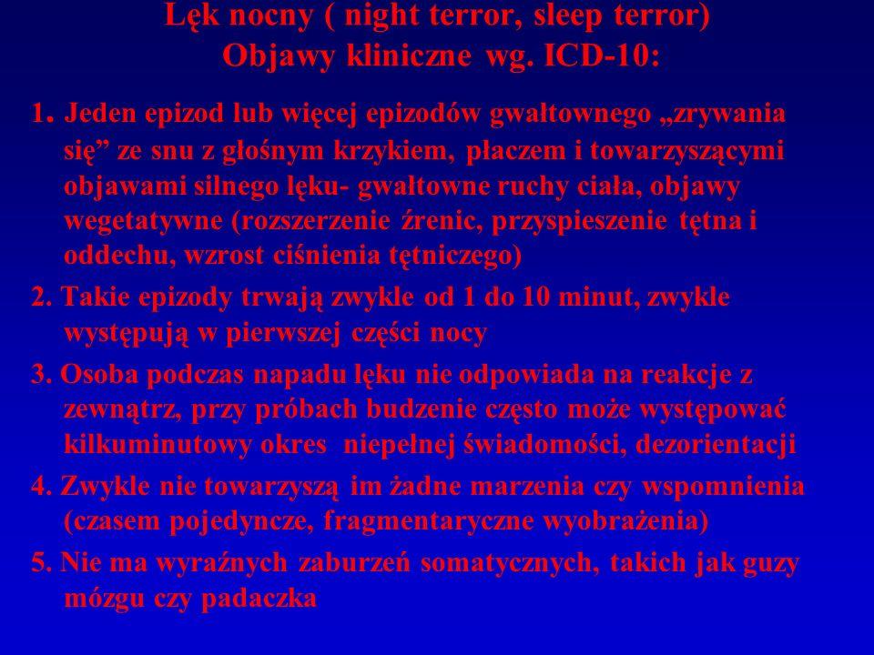 """Lęk nocny ( night terror, sleep terror) Objawy kliniczne wg. ICD-10: 1. Jeden epizod lub więcej epizodów gwałtownego """"zrywania się"""" ze snu z głośnym k"""