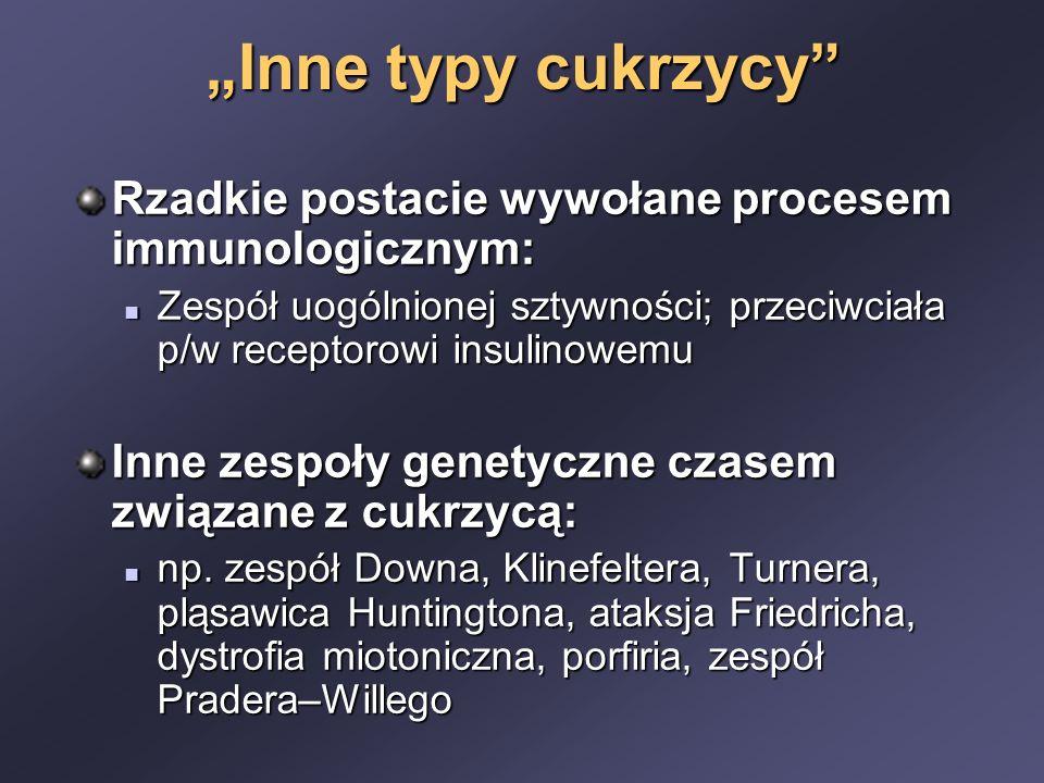 """""""Inne typy cukrzycy Rzadkie postacie wywołane procesem immunologicznym: Zespół uogólnionej sztywności; przeciwciała p/w receptorowi insulinowemu Zespół uogólnionej sztywności; przeciwciała p/w receptorowi insulinowemu Inne zespoły genetyczne czasem związane z cukrzycą: np."""