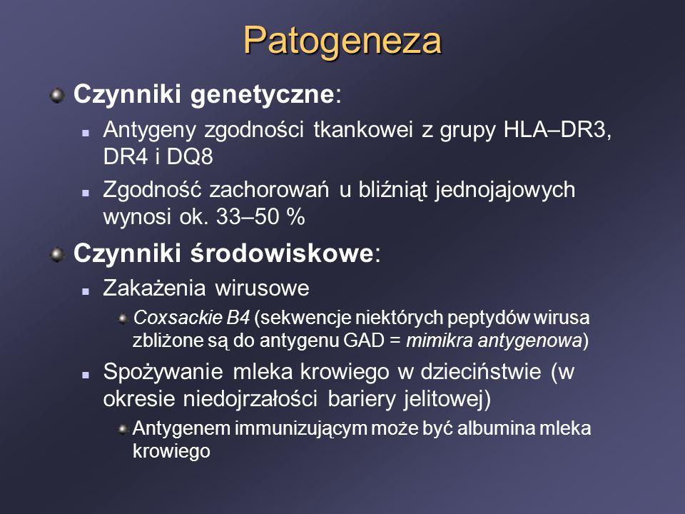 Patogeneza Czynniki genetyczne: Antygeny zgodności tkankowei z grupy HLA–DR3, DR4 i DQ8 Zgodność zachorowań u bliźniąt jednojajowych wynosi ok. 33–50