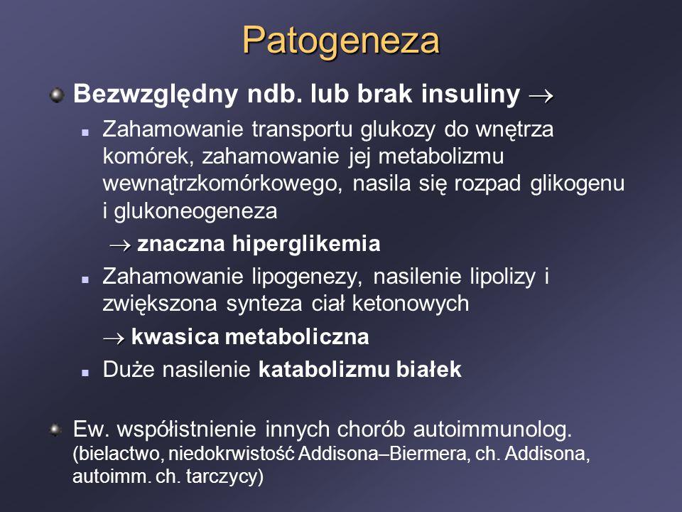 Patogeneza  Bezwzględny ndb. lub brak insuliny  Zahamowanie transportu glukozy do wnętrza komórek, zahamowanie jej metabolizmu wewnątrzkomórkowego,