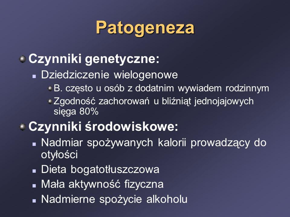 Patogeneza Czynniki genetyczne: Dziedziczenie wielogenowe B. często u osób z dodatnim wywiadem rodzinnym Zgodność zachorowań u bliźniąt jednojajowych