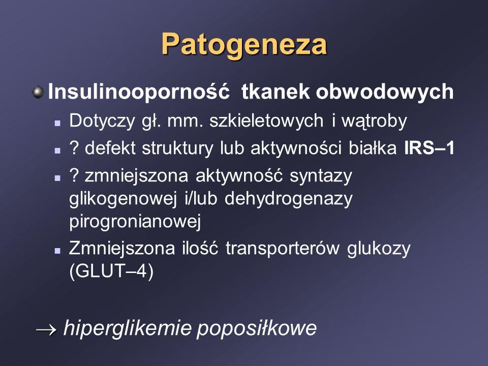 Patogeneza Insulinooporność tkanek obwodowych Dotyczy gł. mm. szkieletowych i wątroby ? defekt struktury lub aktywności białka IRS–1 ? zmniejszona akt