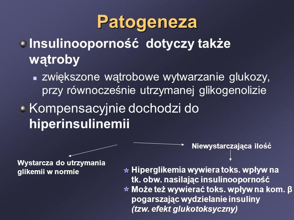 Patogeneza Insulinooporność dotyczy także wątroby zwiększone wątrobowe wytwarzanie glukozy, przy równocześnie utrzymanej glikogenolizie Kompensacyjnie dochodzi do hiperinsulinemii Wystarcza do utrzymania glikemii w normie Niewystarczająca ilość Hiperglikemia wywiera toks.