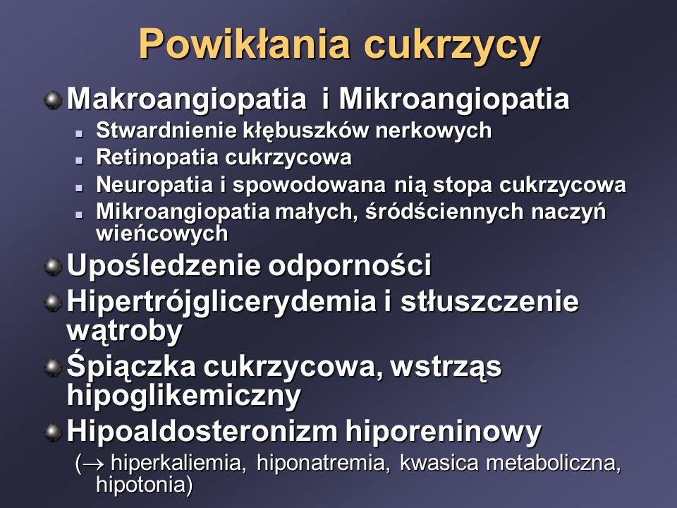 Powikłania cukrzycy Makroangiopatia i Mikroangiopatia Stwardnienie kłębuszków nerkowych Stwardnienie kłębuszków nerkowych Retinopatia cukrzycowa Retinopatia cukrzycowa Neuropatia i spowodowana nią stopa cukrzycowa Neuropatia i spowodowana nią stopa cukrzycowa Mikroangiopatia małych, śródściennych naczyń wieńcowych Mikroangiopatia małych, śródściennych naczyń wieńcowych Upośledzenie odporności Hipertrójglicerydemia i stłuszczenie wątroby Śpiączka cukrzycowa, wstrząs hipoglikemiczny Hipoaldosteronizm hiporeninowy (  hiperkaliemia, hiponatremia, kwasica metaboliczna, hipotonia)
