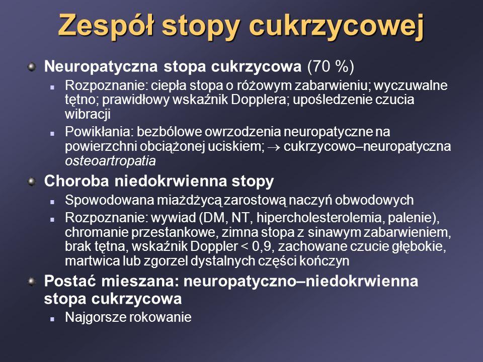 Zespół stopy cukrzycowej Neuropatyczna stopa cukrzycowa (70 %) Rozpoznanie: ciepła stopa o różowym zabarwieniu; wyczuwalne tętno; prawidłowy wskaźnik Dopplera; upośledzenie czucia wibracji Powikłania: bezbólowe owrzodzenia neuropatyczne na powierzchni obciążonej uciskiem;  cukrzycowo–neuropatyczna osteoartropatia Choroba niedokrwienna stopy Spowodowana miażdżycą zarostową naczyń obwodowych Rozpoznanie: wywiad (DM, NT, hipercholesterolemia, palenie), chromanie przestankowe, zimna stopa z sinawym zabarwieniem, brak tętna, wskaźnik Doppler < 0,9, zachowane czucie głębokie, martwica lub zgorzel dystalnych części kończyn Postać mieszana: neuropatyczno–niedokrwienna stopa cukrzycowa Najgorsze rokowanie