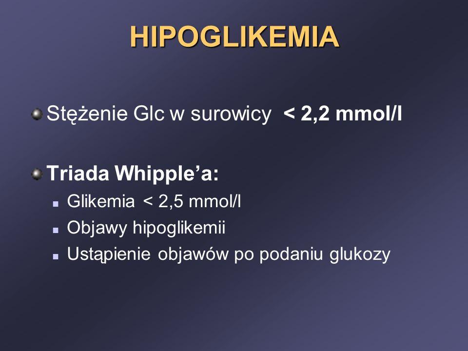 HIPOGLIKEMIA Stężenie Glc w surowicy < 2,2 mmol/l Triada Whipple'a: Glikemia < 2,5 mmol/l Objawy hipoglikemii Ustąpienie objawów po podaniu glukozy