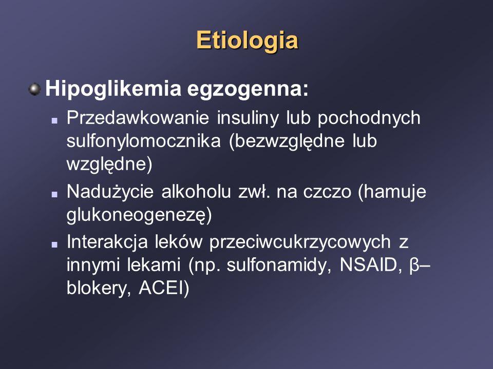Etiologia Hipoglikemia egzogenna: Przedawkowanie insuliny lub pochodnych sulfonylomocznika (bezwzględne lub względne) Nadużycie alkoholu zwł.