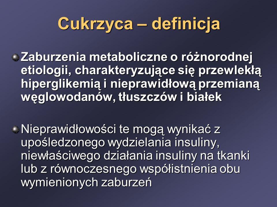 Cukrzyca – definicja Zaburzenia metaboliczne o różnorodnej etiologii, charakteryzujące się przewlekłą hiperglikemią i nieprawidłową przemianą węglowod