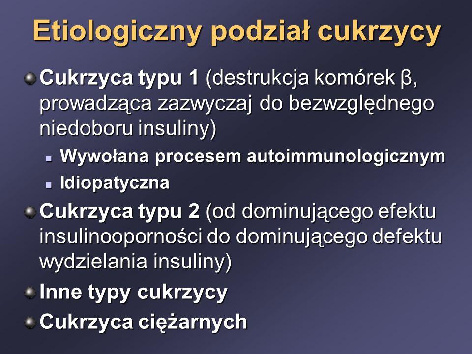 Etiologiczny podział cukrzycy Cukrzyca typu 1 (destrukcja komórek β, prowadząca zazwyczaj do bezwzględnego niedoboru insuliny) Wywołana procesem autoimmunologicznym Wywołana procesem autoimmunologicznym Idiopatyczna Idiopatyczna Cukrzyca typu 2 (od dominującego efektu insulinooporności do dominującego defektu wydzielania insuliny) Inne typy cukrzycy Cukrzyca ciężarnych