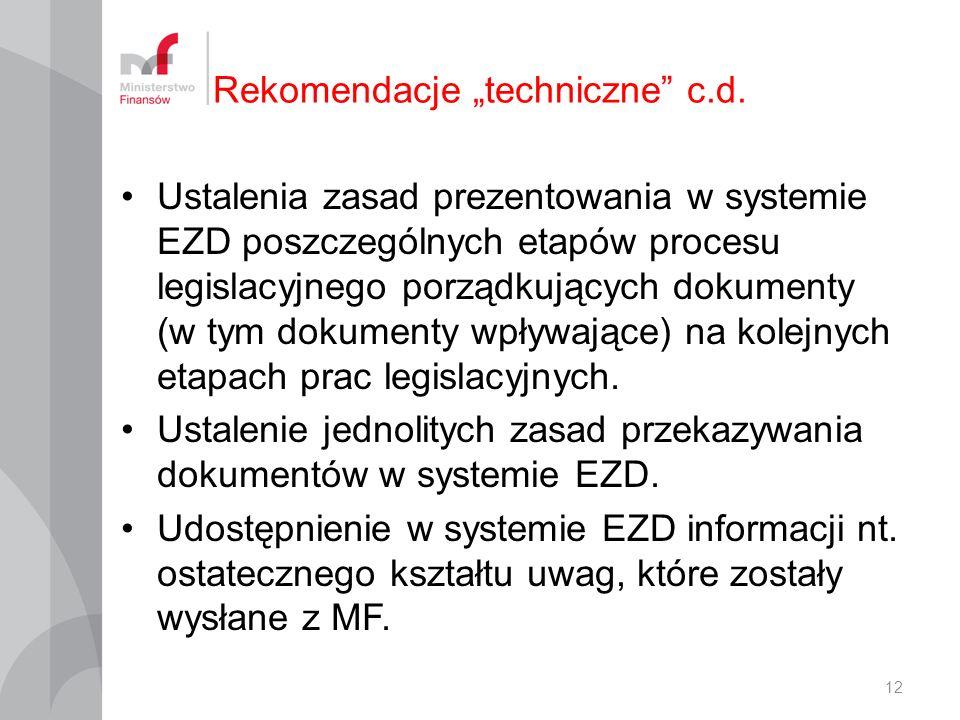 "Rekomendacje ""techniczne c.d."