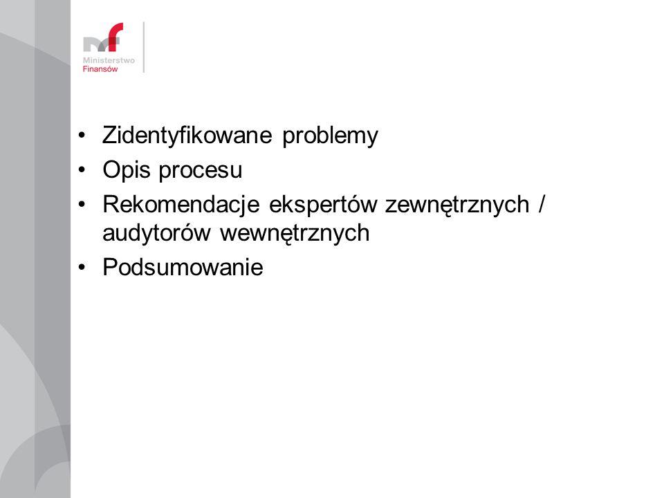 Zidentyfikowane problemy Opis procesu Rekomendacje ekspertów zewnętrznych / audytorów wewnętrznych Podsumowanie