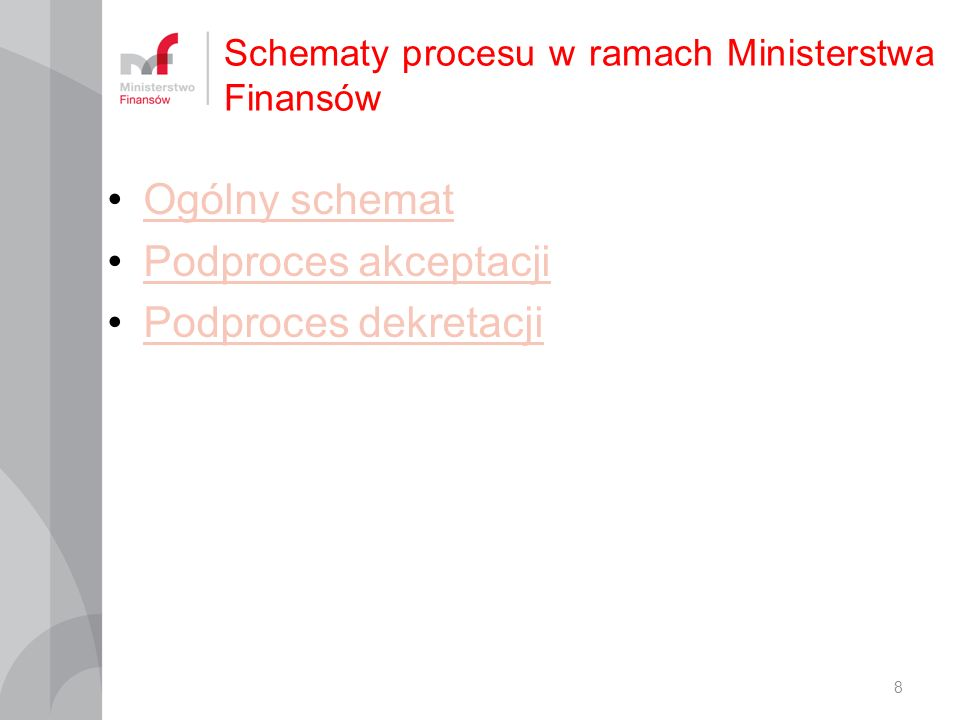 Schematy procesu w ramach Ministerstwa Finansów 8 Ogólny schemat Podproces akceptacji Podproces dekretacji