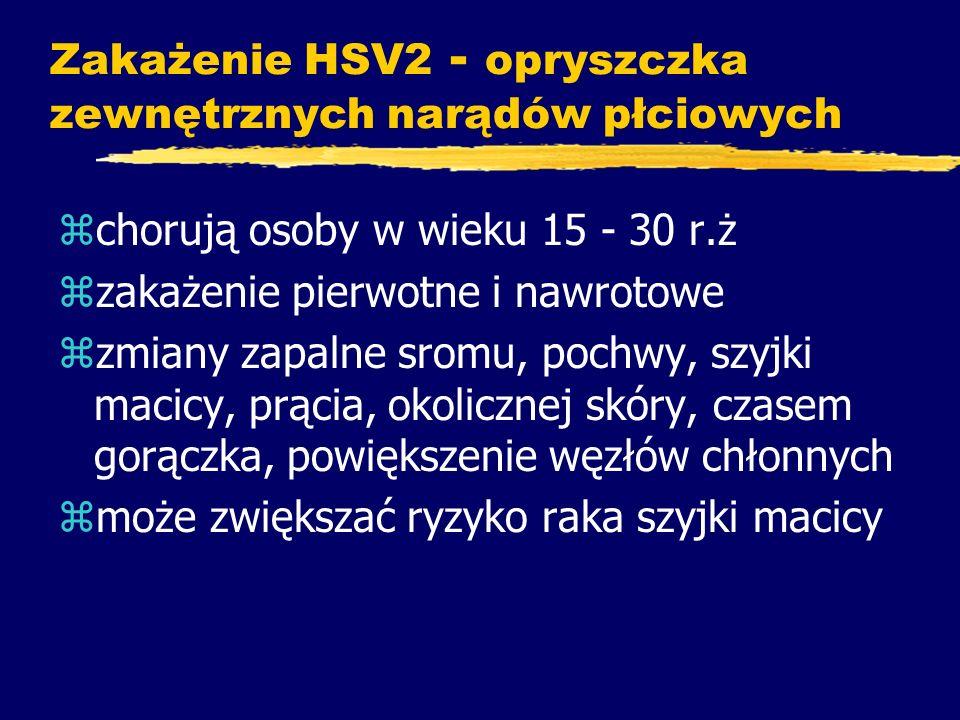 Zakażenie HSV2 - opryszczka zewnętrznych narądów płciowych zchorują osoby w wieku 15 - 30 r.ż zzakażenie pierwotne i nawrotowe zzmiany zapalne sromu,
