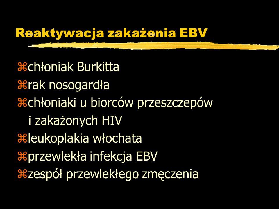 Reaktywacja zakażenia EBV zchłoniak Burkitta zrak nosogardła zchłoniaki u biorców przeszczepów i zakażonych HIV zleukoplakia włochata zprzewlekła infe