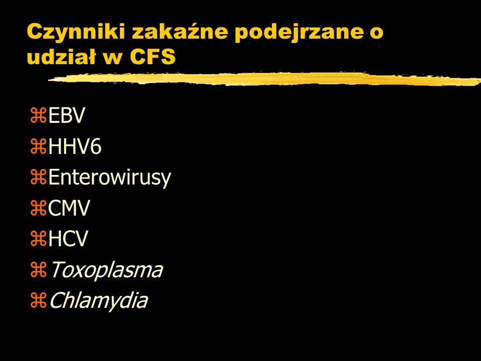 Czynniki zakaźne podejrzane o udział w CFS zEBV zHHV6 zEnterowirusy zCMV zHCV zToxoplasma zChlamydia