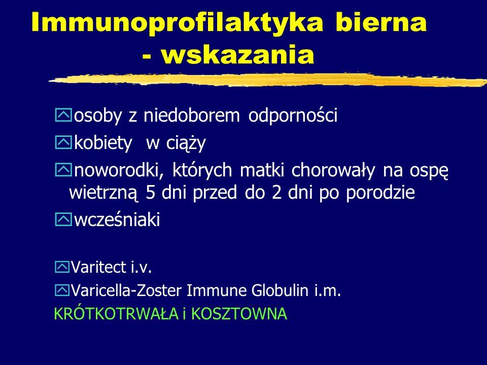 Immunoprofilaktyka bierna - wskazania yosoby z niedoborem odporności ykobiety w ciąży ynoworodki, których matki chorowały na ospę wietrzną 5 dni przed