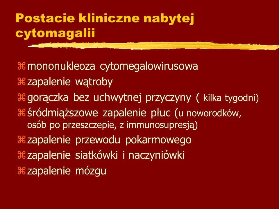 Postacie kliniczne nabytej cytomagalii zmononukleoza cytomegalowirusowa zzapalenie wątroby zgorączka bez uchwytnej przyczyny ( kilka tygodni) zśródmią
