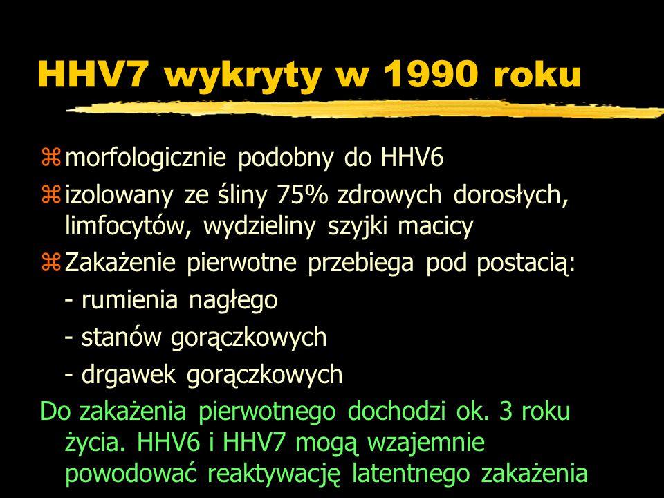 HHV7 wykryty w 1990 roku zmorfologicznie podobny do HHV6 zizolowany ze śliny 75% zdrowych dorosłych, limfocytów, wydzieliny szyjki macicy zZakażenie p