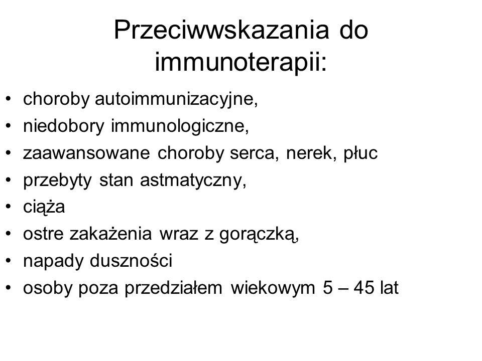 Przeciwwskazania do immunoterapii: choroby autoimmunizacyjne, niedobory immunologiczne, zaawansowane choroby serca, nerek, płuc przebyty stan astmatyczny, ciąża ostre zakażenia wraz z gorączką, napady duszności osoby poza przedziałem wiekowym 5 – 45 lat