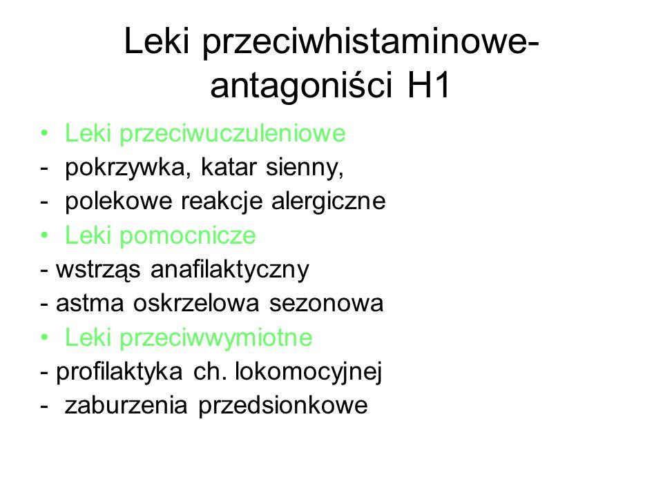 Leki przeciwhistaminowe- antagoniści H1 Leki przeciwuczuleniowe -pokrzywka, katar sienny, -polekowe reakcje alergiczne Leki pomocnicze - wstrząs anafi