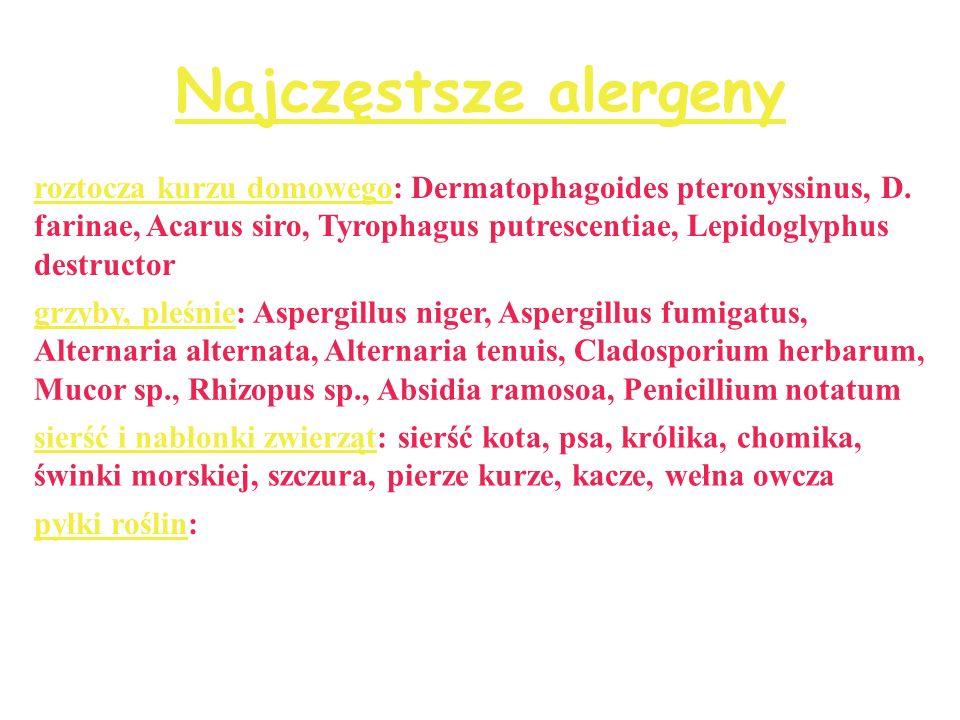 Najczęstsze alergeny roztocza kurzu domowego: Dermatophagoides pteronyssinus, D. farinae, Acarus siro, Tyrophagus putrescentiae, Lepidoglyphus destruc