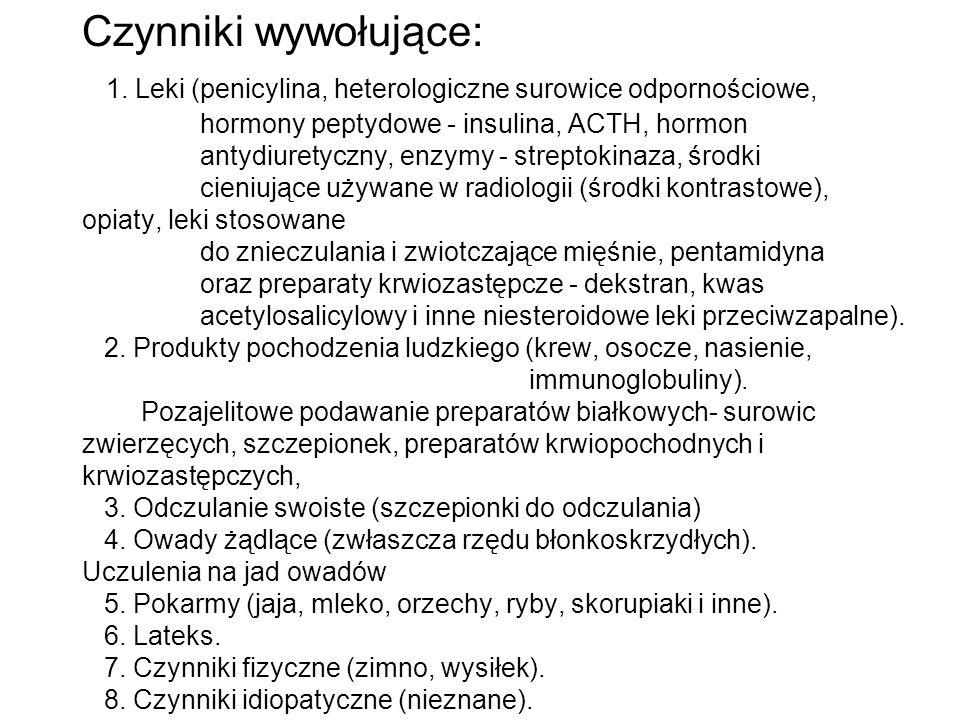 Czynniki wywołujące: 1. Leki (penicylina, heterologiczne surowice odpornościowe, hormony peptydowe - insulina, ACTH, hormon antydiuretyczny, enzymy -
