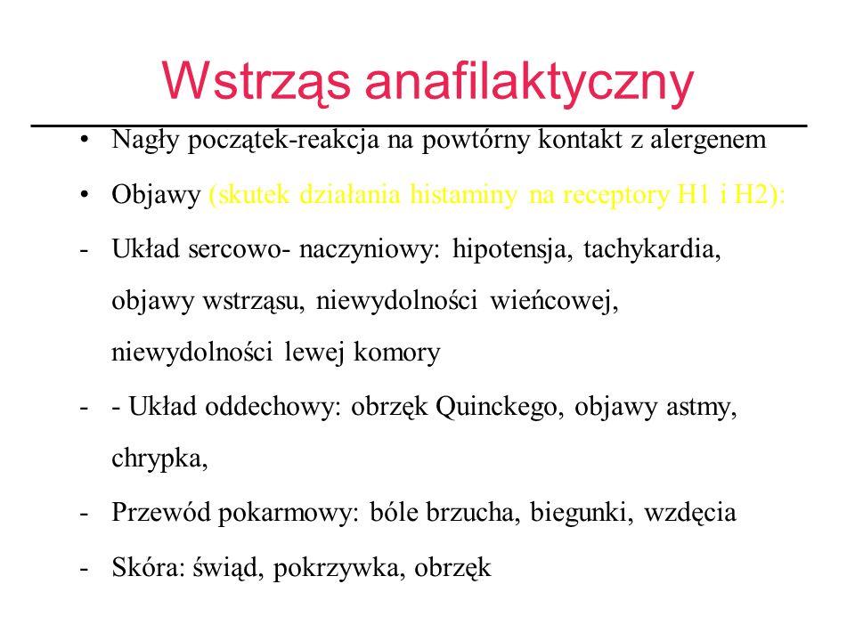Wstrząs anafilaktyczny Nagły początek-reakcja na powtórny kontakt z alergenem Objawy (skutek działania histaminy na receptory H1 i H2): -Układ sercowo- naczyniowy: hipotensja, tachykardia, objawy wstrząsu, niewydolności wieńcowej, niewydolności lewej komory -- Układ oddechowy: obrzęk Quinckego, objawy astmy, chrypka, -Przewód pokarmowy: bóle brzucha, biegunki, wzdęcia -Skóra: świąd, pokrzywka, obrzęk
