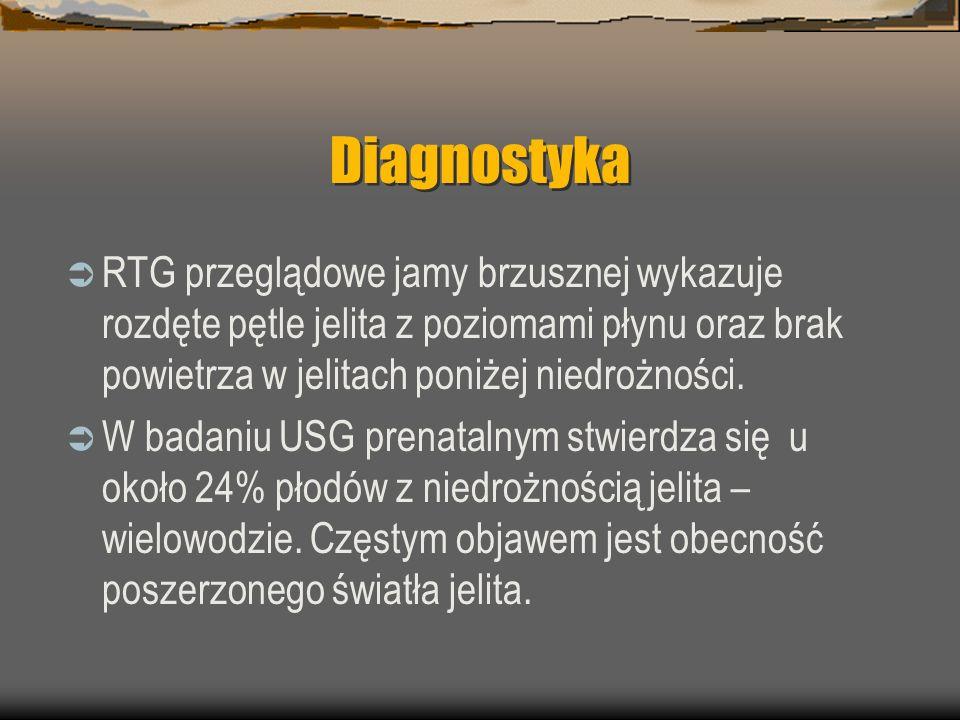 Diagnostyka  RTG przeglądowe jamy brzusznej wykazuje rozdęte pętle jelita z poziomami płynu oraz brak powietrza w jelitach poniżej niedrożności.  W