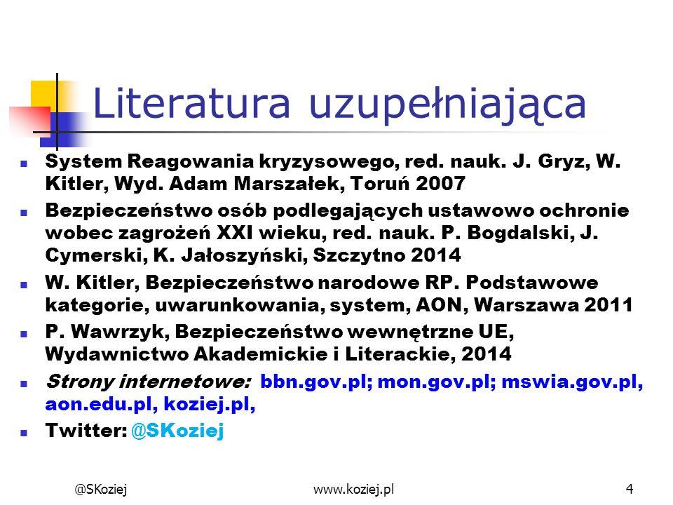 @SKoziejwww.koziej.pl4 Literatura uzupełniająca System Reagowania kryzysowego, red. nauk. J. Gryz, W. Kitler, Wyd. Adam Marszałek, Toruń 2007 Bezpiecz