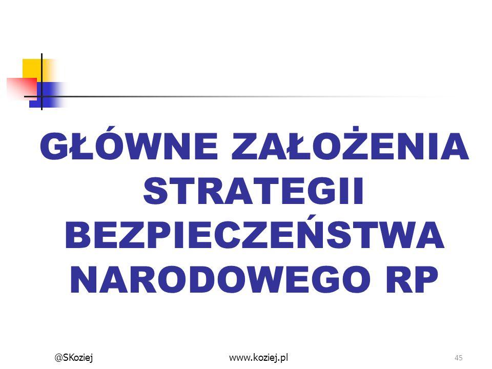 GŁÓWNE ZAŁOŻENIA STRATEGII BEZPIECZEŃSTWA NARODOWEGO RP 45 www.koziej.pl@SKoziej
