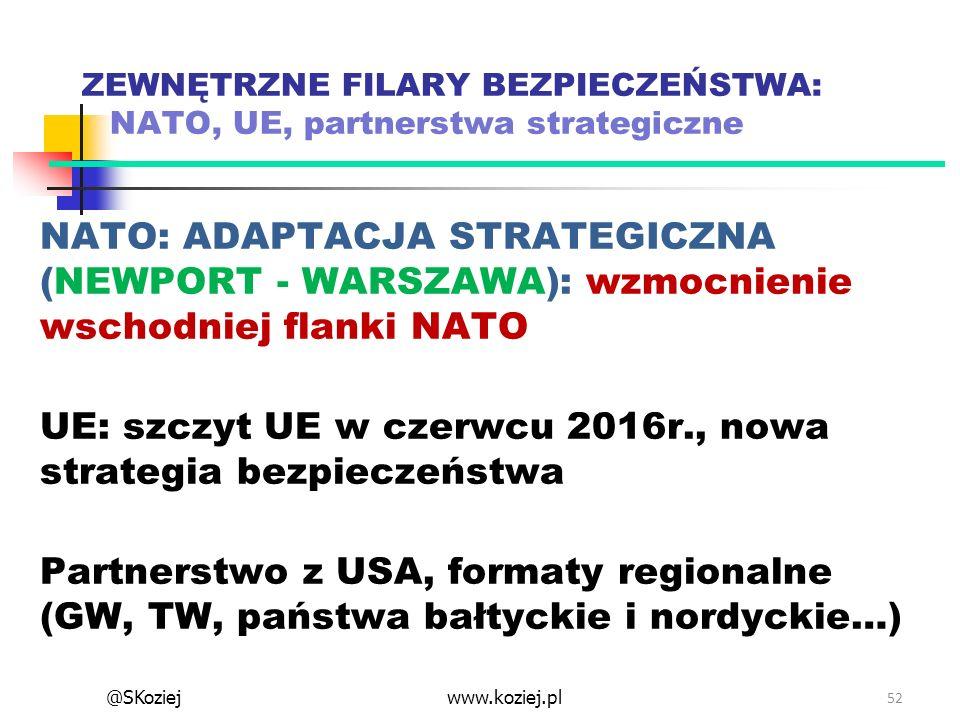 ZEWNĘTRZNE FILARY BEZPIECZEŃSTWA: NATO, UE, partnerstwa strategiczne NATO: ADAPTACJA STRATEGICZNA (NEWPORT - WARSZAWA): wzmocnienie wschodniej flanki