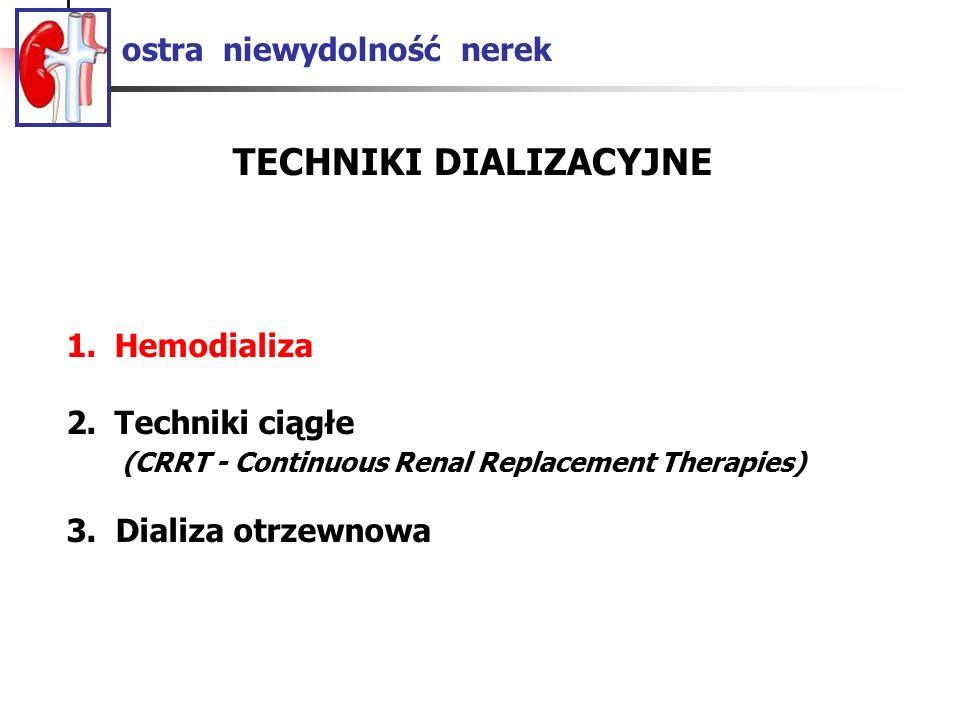 ostra niewydolność nerek TECHNIKI DIALIZACYJNE 1.Hemodializa 2.Techniki ciągłe (CRRT - Continuous Renal Replacement Therapies) 3. Dializa otrzewnowa
