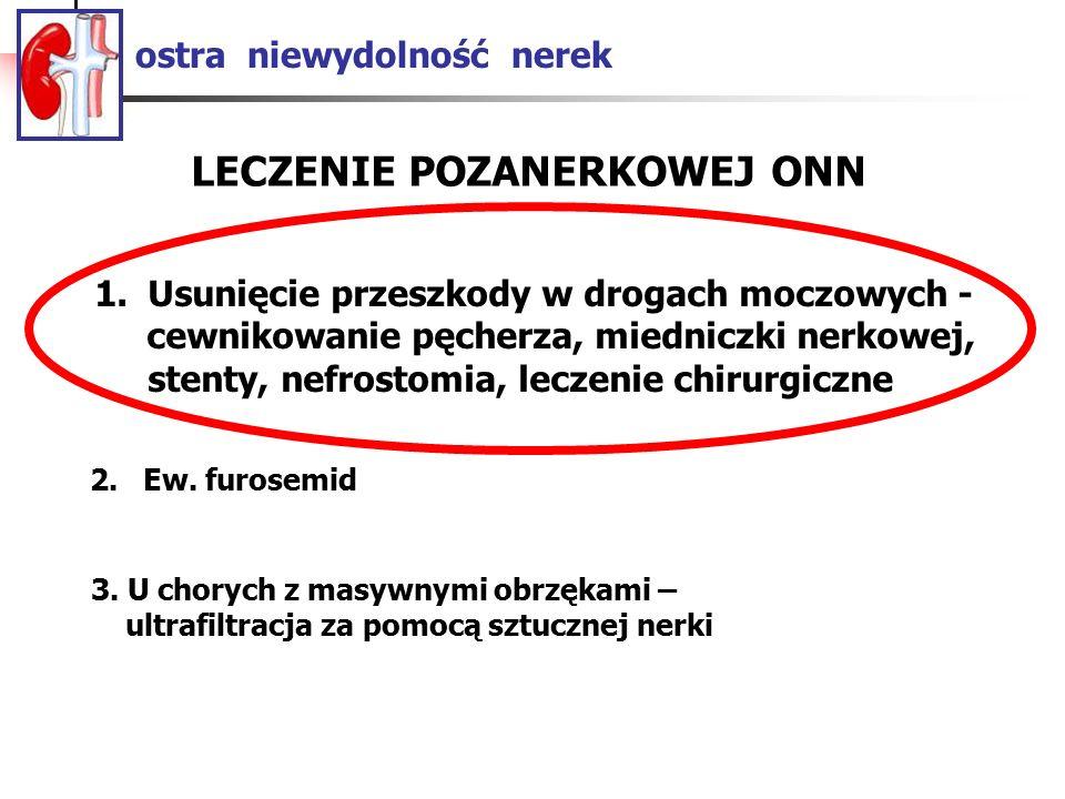 ostra niewydolność nerek LECZENIE NERKOWEJ ZAPALNEJ ONN 2.Furosemid 1.Leczenie nefropatii – kortykosteroidy i leki immunosupresyjne w kłębuszkowych zapaleniach; eliminacja czynnika wywołującego w zapaleniach śródmiąższowych
