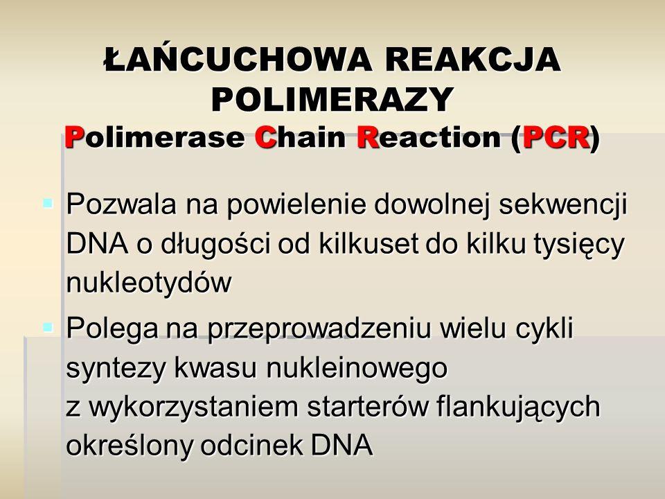 ŁAŃCUCHOWA REAKCJA POLIMERAZY Polimerase Chain Reaction (PCR)  Pozwala na powielenie dowolnej sekwencji DNA o długości od kilkuset do kilku tysięcy n