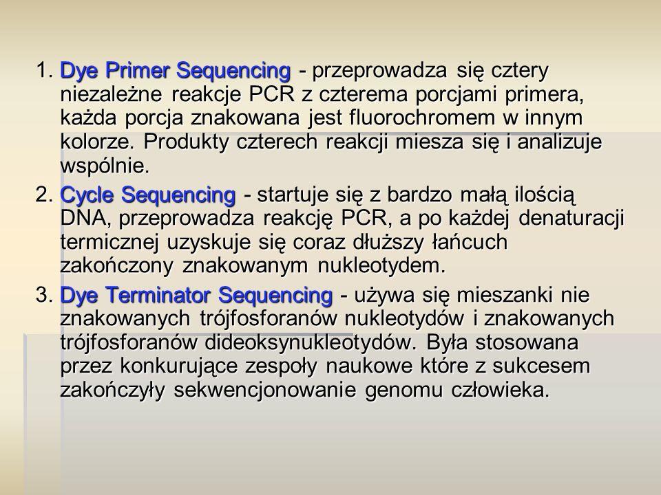 1. Dye Primer Sequencing- przeprowadza się cztery niezależne reakcje PCR z czterema porcjami primera, każda porcja znakowana jest fluorochromem w inny