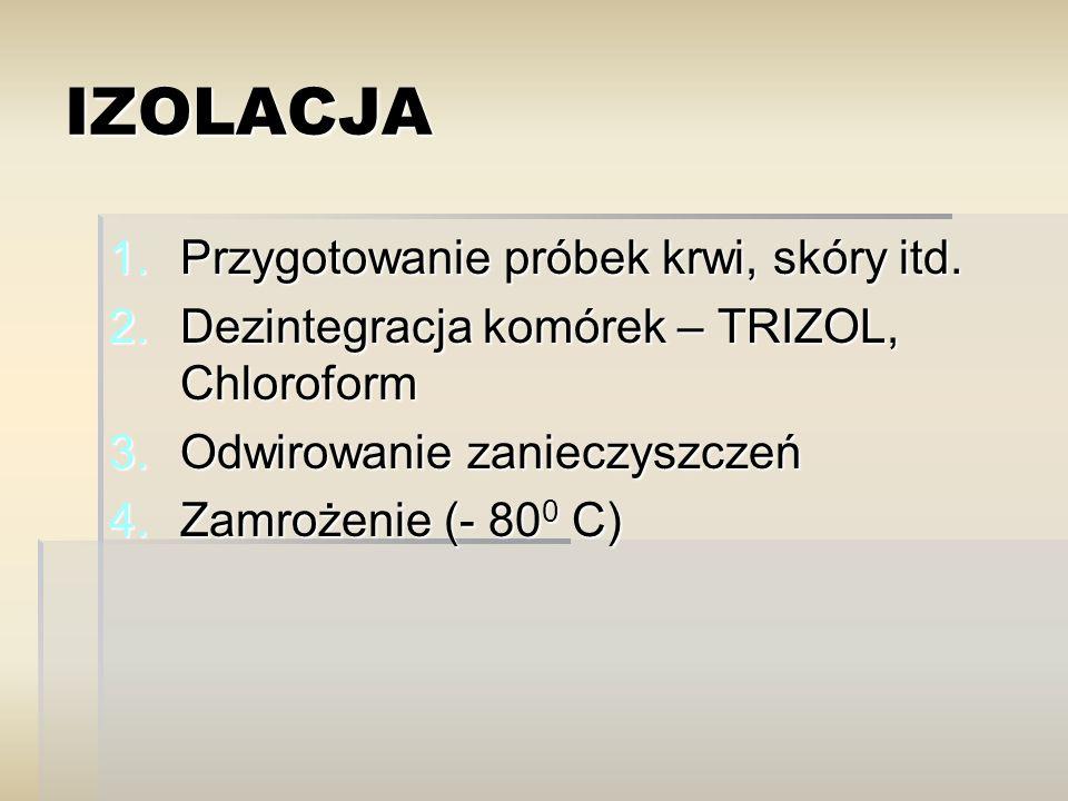 IZOLACJA 1.Przygotowanie próbek krwi, skóry itd. 2.Dezintegracja komórek – TRIZOL, Chloroform 3.Odwirowanie zanieczyszczeń 4.Zamrożenie (- 80 0 C)